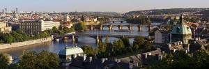 View of the River Vltava and Bridges, Prague, Czech Republic, Europe by Gavin Hellier