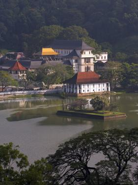 View Over Kandy Lake to the Temple of the Tooth, Kandy, Unesco Heritage Site, Sri Lanka, Asia by Gavin Hellier