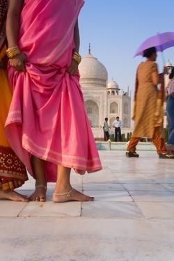 Visitors in Front of the Taj Mahal, UNESCO World Heritage Site, Agra, Uttar Pradesh, India, Asia by Gavin Hellier