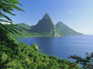 Volcanic Peaks of the Pitons, Soufriere Bay, St. Lucia, Caribbean, West Indies, Central America by Gavin Hellier