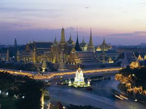 Wat Phra Kaew, the Temple of the Emerald Buddha, and the Grand Palace at Dusk in Bangkok, Thailand by Gavin Hellier