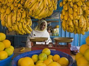 Woman Selling Fruit in a Market Stall in Gonder, Gonder, Ethiopia, Africa by Gavin Hellier