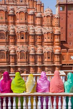 Women in Bright Saris in Front of the Hawa Mahal (Palace of the Winds) by Gavin Hellier