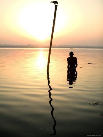 Man Praying in the Holy Ganges, Early Morning