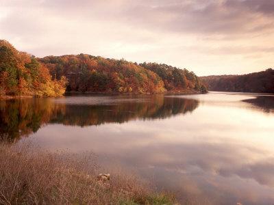 Fall Colors Reflected in Lake, Arkansas, USA