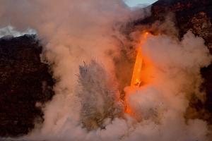 Kilauea volcano, Big Island, Hawaii. A rare lava flow formation called a 'fire hose' by Gayle Harper