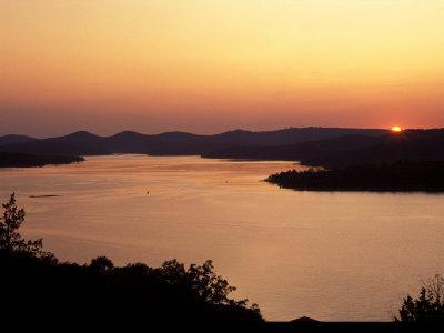Sunset over Table Rock Lake near Kimberling City, Missouri, USA