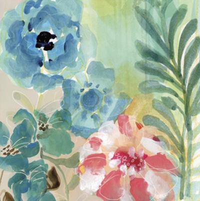 Blue Peach Floral I