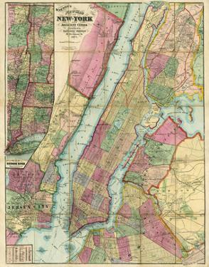Map of New York and Adjacent Cities, c.1874 by Gaylord Watson