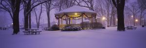 Gazebo Covered with Snow in a Park, Rochester, Olmsted County, Minnesota, USA