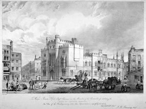 View of the City of London School, Honey Lane Market, Milk Street, City of London, 1835 by GE Madeley