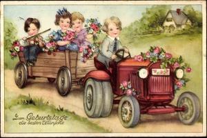 Geburtstag Glückwunsch, Trtor, Blumen, Kinder
