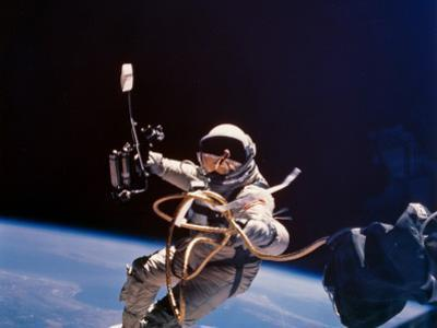 Gemini 4 Astronaut Edward H White During America's First Space Walk