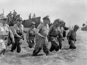 Gen. Douglas Macarthur Wades Ashore During Initial Landings at Leyte Island