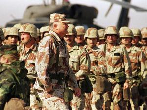 Gen. H. Norman Schwarzkopf Inspecting Troops