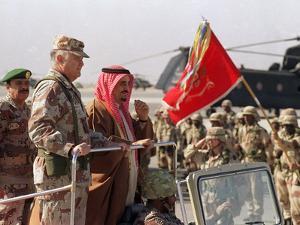 Gen. H. Norman Schwarzkopf with Saudi Arabian King Fahd Reviewing Troops