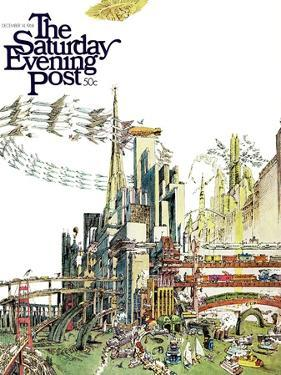 """""""Day Everything Stops,"""" Saturday Evening Post Cover, December 14, 1968 by Gene Holtan"""