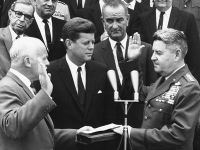 General Curtis Lemay (Right) Is Sworn in as Air Force Chief of Staff, June 30, 1961