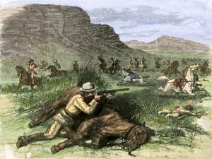 General Custer's Scout Surrounded by Hostile Arapahoes in the Black Hills, Dakota Territory, c.1874
