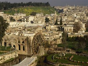 General View of Hama, the Noria in the Orontes River, Syria