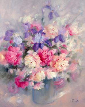 Roses and Irises by Genevieve Dolle