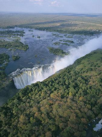 Aerial View of the Victoria Falls, Unesco World Heritage Site, Zimbabwe, Africa