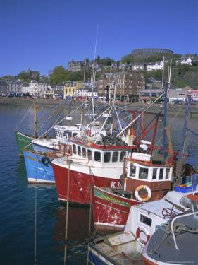 Boats and Waterfront, Mccaig's Tower on Hill, Oban, Argyll, Strathclyde, Scotland, UK, Europe by Geoff Renner