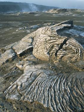 Kilauea Volcano Crater Showing Solidified Ropy Lava Called Pahoehoe, the Big Island, Hawaii, USA by Geoff Renner