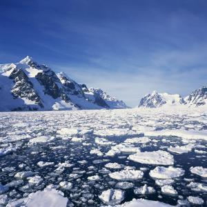 Loose Pack Ice in the Sea, with the Antarctic Peninsula in the Background, Antarctica by Geoff Renner