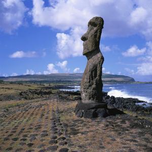 Moai Statue, Ahu Akapu, Easter Island, UNESCO World Heritage Site, Chile, South America by Geoff Renner