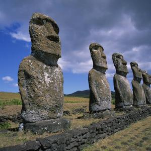 Moai Statues, Ahu Akivi, Easter Island, UNESCO World Heritage Site, Chile, Pacific by Geoff Renner