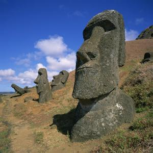 Moai Statues Carved from Crater Walls, Easter Island, Chile by Geoff Renner