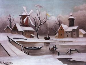 Ice Skaters on a Frozen Pond by Henri Rousseau by Geoffrey Clements
