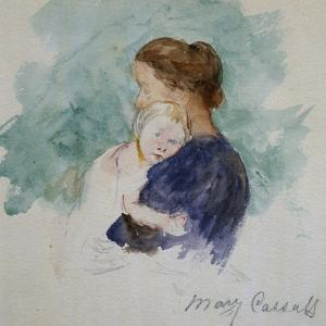 Watercolor of Mother and Child by Mary Cassatt by Geoffrey Clements