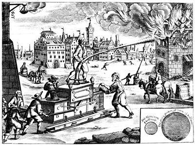 Fire Engine, from Georg Andreas Bockler's Theatrum Machinarum Novum, 1673