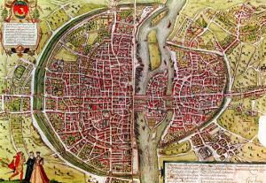 "Paris Map from ""Civitates Orbis Terrarrum"" by Georg Braun and Franz Hogenbergh, French, 1572-1617 by Georg Braun"