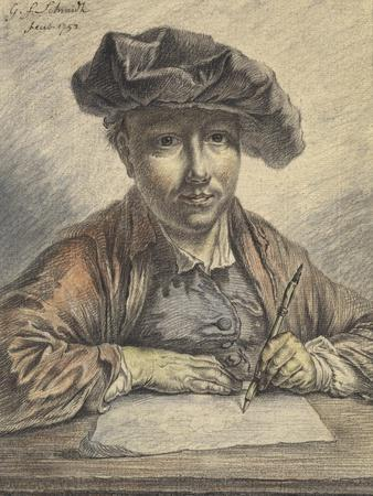 Self-Portrait Sketching, 1752 (Black and Red Chalk with Watercolour, Pastel, Pen and Black Ink)