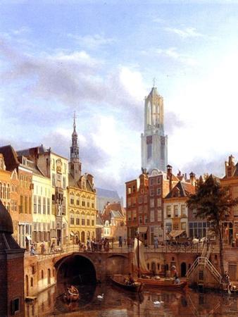 Utrecht with the Oudegracht, 1827 by Georg Gillis Van Haanen