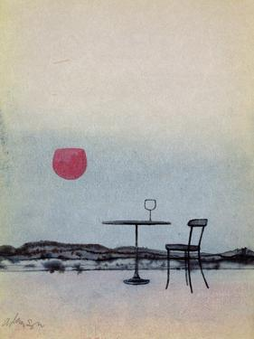 Displaced Red Wine from Glass on Outside Table Becomes the Setting Sun by George Adamson
