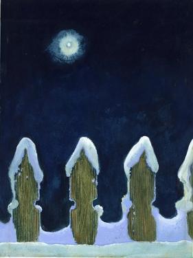 Moonlit Snowy Fence, 1970s by George Adamson