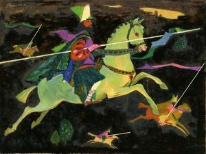Night Horseman with Lances, 1960s by George Adamson
