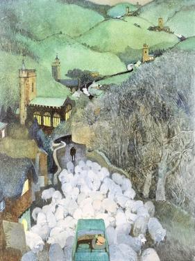 Sheep on the Road (Commission for 'Punch' Magazine Cover) by George Adamson