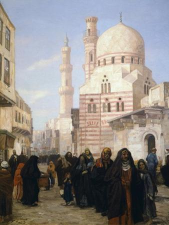 A View of a Street of the Citadel in Cairo with Ibrahim Agka Mosque, 1907
