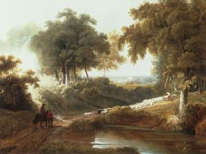 Landscape at Sunset with Drovers and Sheep on a Path by George Arnald