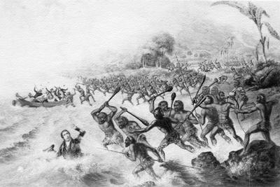 The Massacre of the Lamented Missionary, the Rev. P. Williams and Mr. Harris