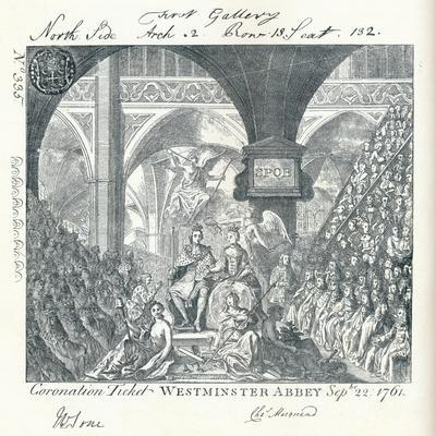 Engraved Ticket for the Coronation Ceremony of George III in Westminster Abbey' 1761