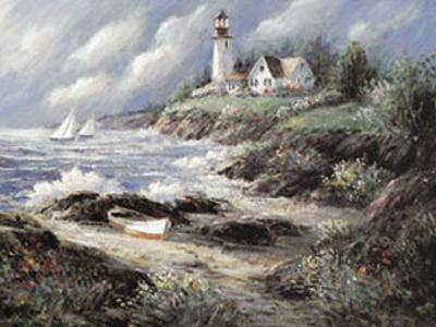 Lighthouse and Boat by George Bjorkland