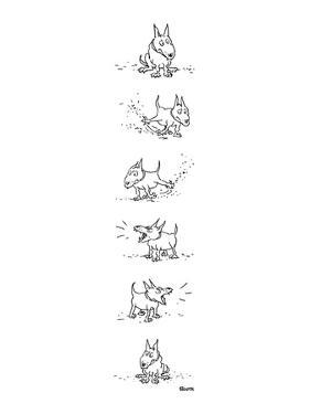 Dog sits, scratches the ground, barks and sits again. - New Yorker Cartoon by George Booth