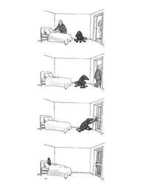 Four drawings; Man makes bed, as dog watches.  Man leaves room. Dog locks … - New Yorker Cartoon by George Booth