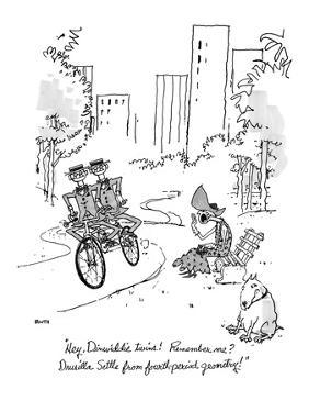 """""""Hey, Dinwiddie twins!  Remember me? Drusilla Settle from fourth-period ge?"""" - New Yorker Cartoon by George Booth"""